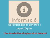 Bases generals i específiques de la convocatòria Enginyer tècnic industrial de l'Àrea de Medi Ambient