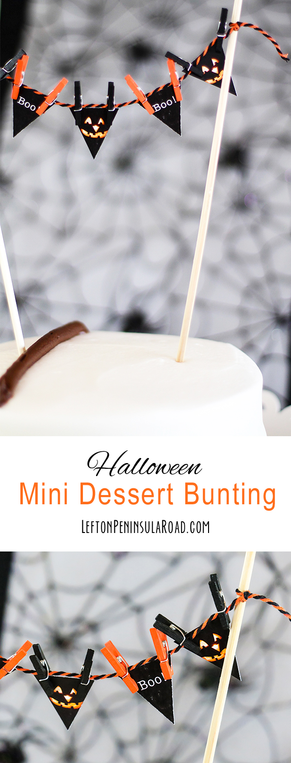 Add this adorable mini-bunting to a plain cake for your Halloween party.