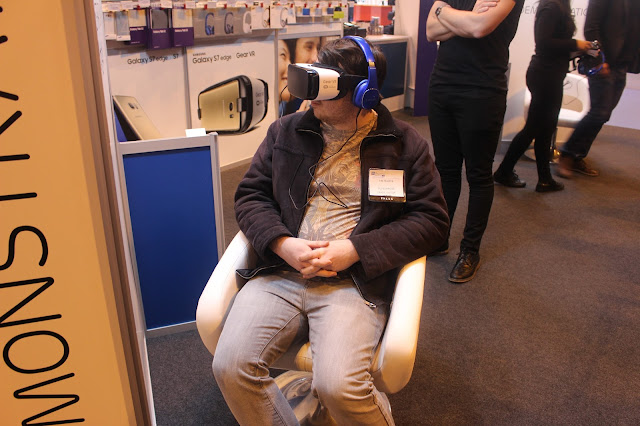 Photograph of my partner demoing the Samsung Gear VR Headset