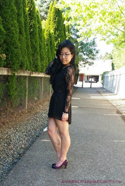 Andrea Tiffany aglimpseofglam - OOTD Inspo LBD Lace Sleeves Banggood