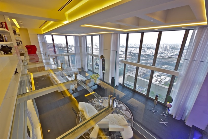 High penthouse glass walls