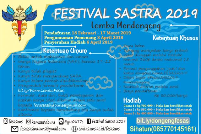 Lomba Mendongeng Festival Sastra 2019 Mahasiswa & Umum
