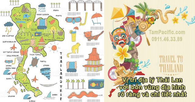 Vị trí địa lý Thái Lan với bốn vùng địa hình rõ ràng và chi tiết nhất