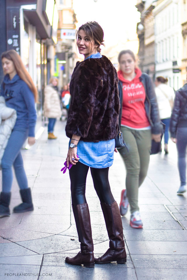 how to wear a crope fur coat, denim shirt and leathe look leggings, women winter street style fashion Zagreb Croatia, Lucijana Radman,