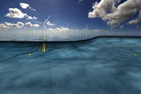 This rendering depicts Hywind turbines bobbing in the water, with their tethers affixed to the floor below. (Credit: Statoil) Click to Enlarge.