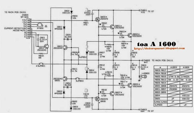 SERVIS TV SALATIGA (lcd/led/tabung): Skema Ampli TOA A1600