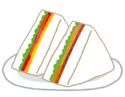 三角形のサンドイッチのイラスト