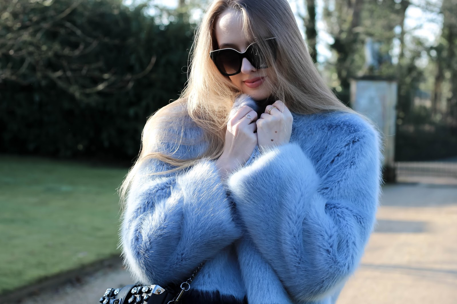 Ice Blue Faux Fur Coat Fashion Blogger