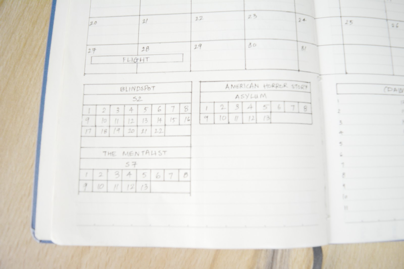 Bullet Journal tv show tracker