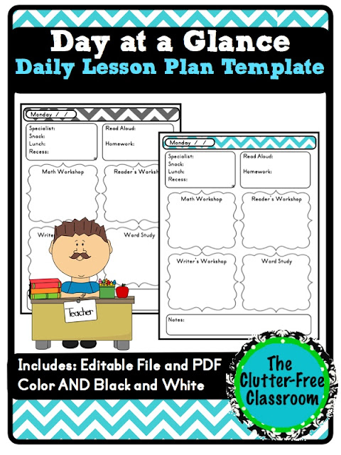 Day at a Glance Daily Lesson Planning {Lesson Plan Template, Teacher - daily lesson plan template