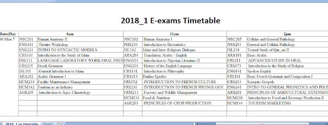 NOUN e-Exam time table 2018 - National Open University of Nigeria Portal