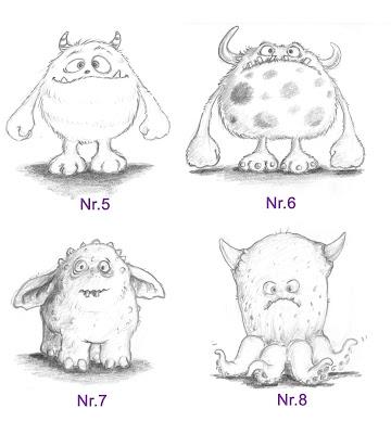 Skizzen, Bleistift, Monster, Kinderbuchillustration