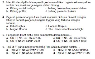Soal UKK/ UAS PKn Kelas 7 SMP/ MTs Semester 2