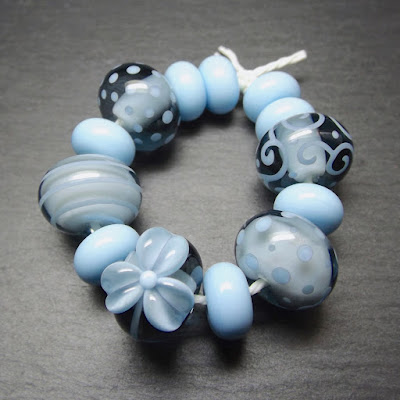 Lampwork glass beads made in Creation is Messy 'Slate'