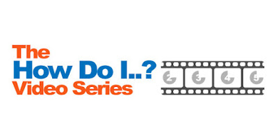 "Logo for The How Do I..."" Video Series.  image of a film strip"