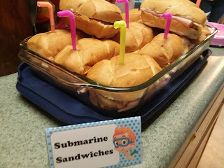 """Sub sandwiches with periscopes """"submarines"""" ocean themed party food ideas"""