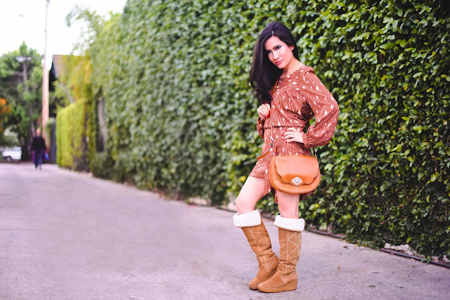 handmade dress, Michael Kors leather handbag, Michael Kors suede tan boots