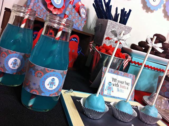 Hawaiian Punch, cake pops, printables, robot printables