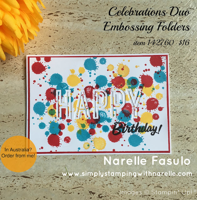 Celebrations Duo Embossing Folder - Simply Stamping with Narelle - available here - http://bit.ly/2ms14kf