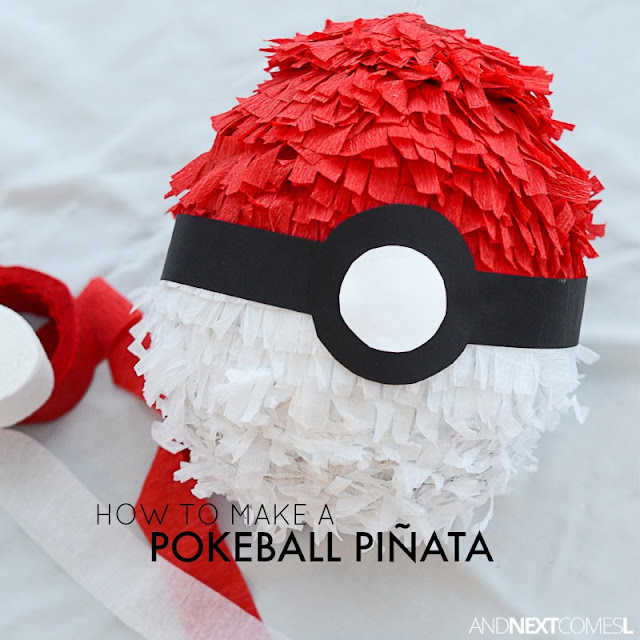 How to make a Pokeball pinata for a Pokemon birthday party from And Next Comes L