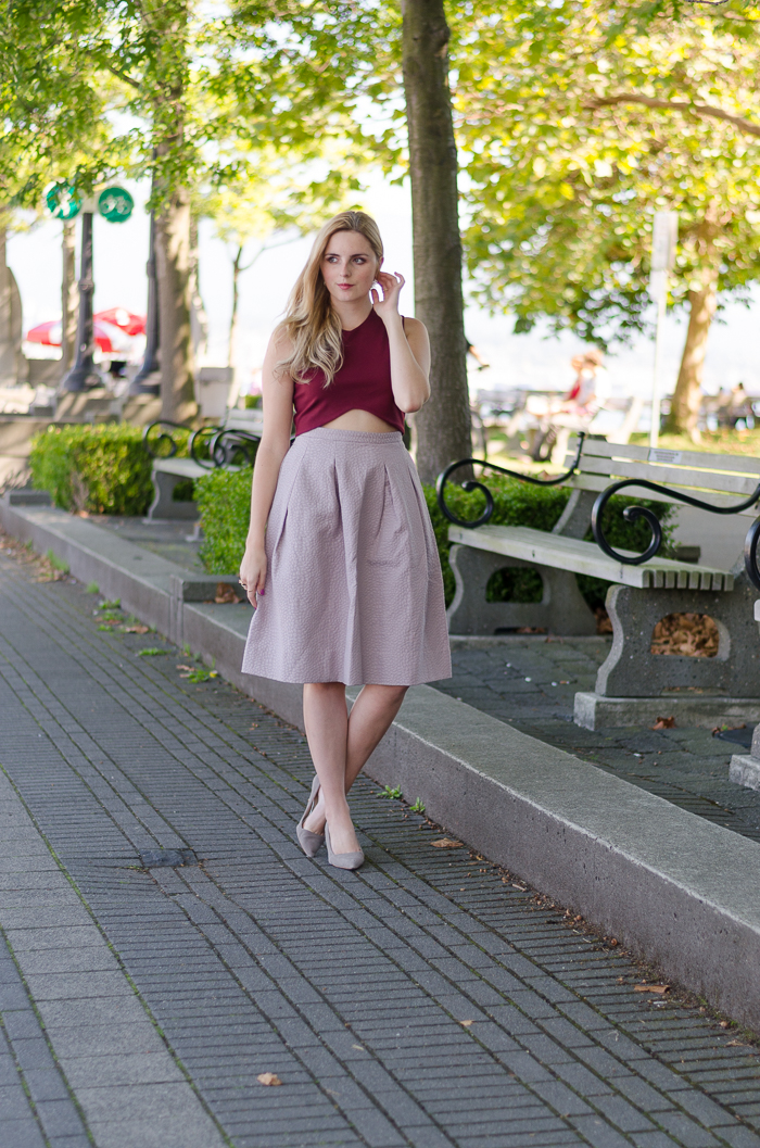 How to wear a crop top and midi skirt