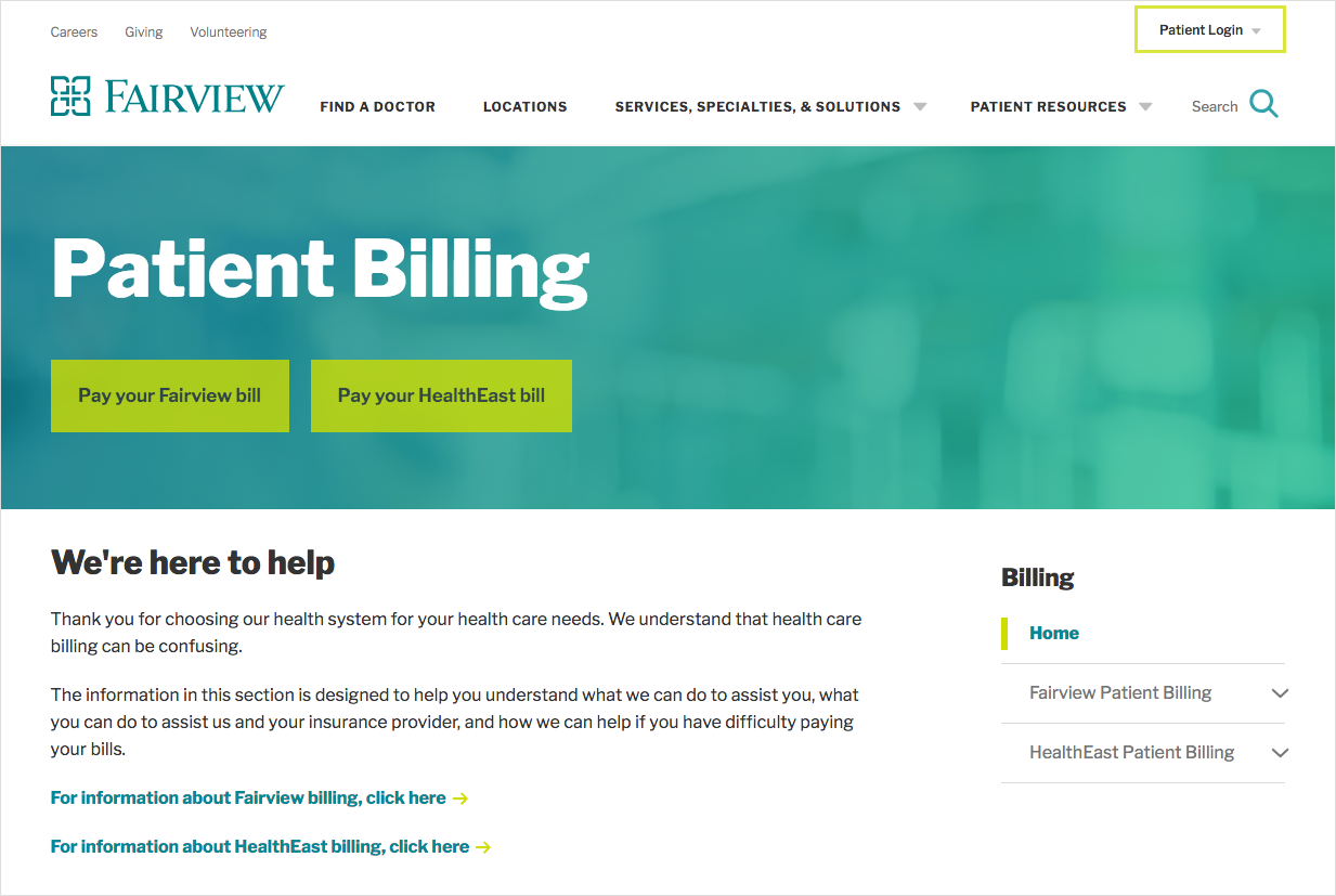 Fairview makes it easy for patients to get to billing information quickly