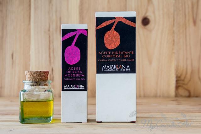 Matarrania: Aceite Hidratante Bio de Canala, Clavo e Ylang-Ylang y Aceite de Rosa Mosqueta.