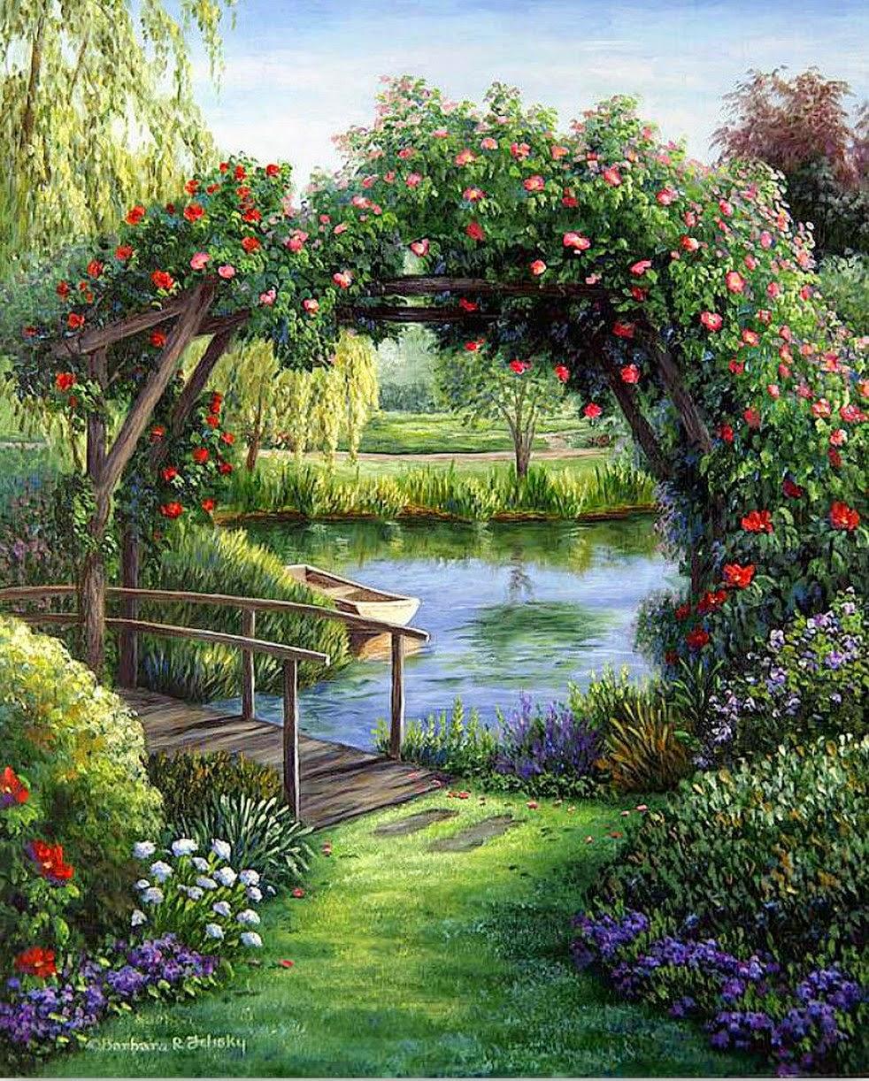 Im genes arte pinturas paisajes con jardines y flores - Jardines y plantas ...