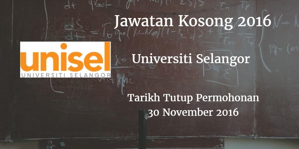 Jawatan Kosong UNISEL 30 November 2016