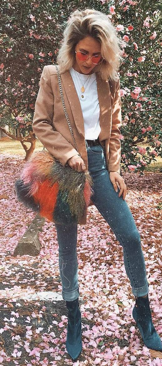 what to wear with a fur bag : nude coat + tee + skinnies + boots