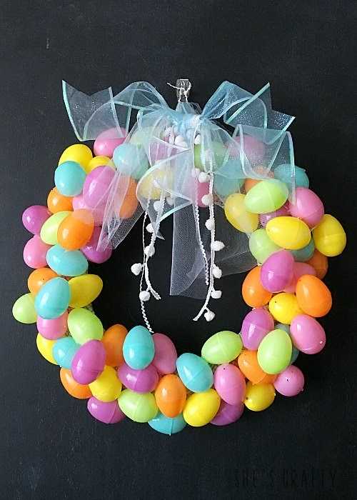 Pastel Easter Egg Wreath DIY - instructions to make an easy and inexpensive wreath with plastic easter eggs