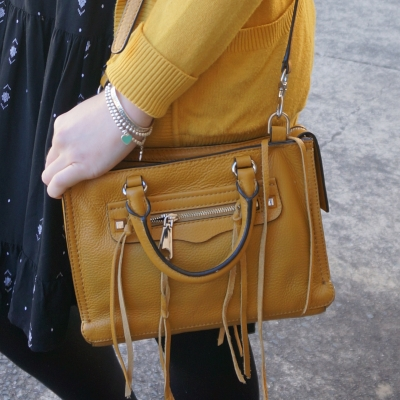 Rebecca Minkoff micro Regan satchel in Harvest Gold | Away From The Blue