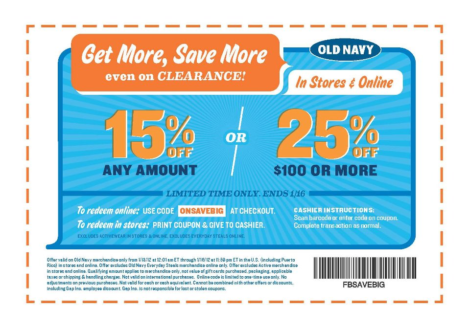 Browse for Old Navy coupons valid through October below. Find the latest Old Navy coupon codes, online promotional codes, and the overall best coupons posted by our team of experts to save you 50% off at Old Navy.