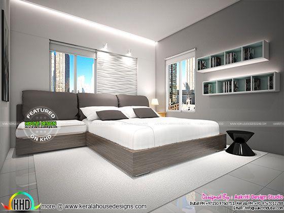 Flat bedroom interior Kerala