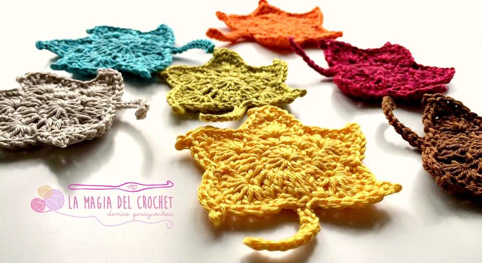 Único Crochet Patrón De La Hoja Coaster Imágenes - Manta de Tejer ...