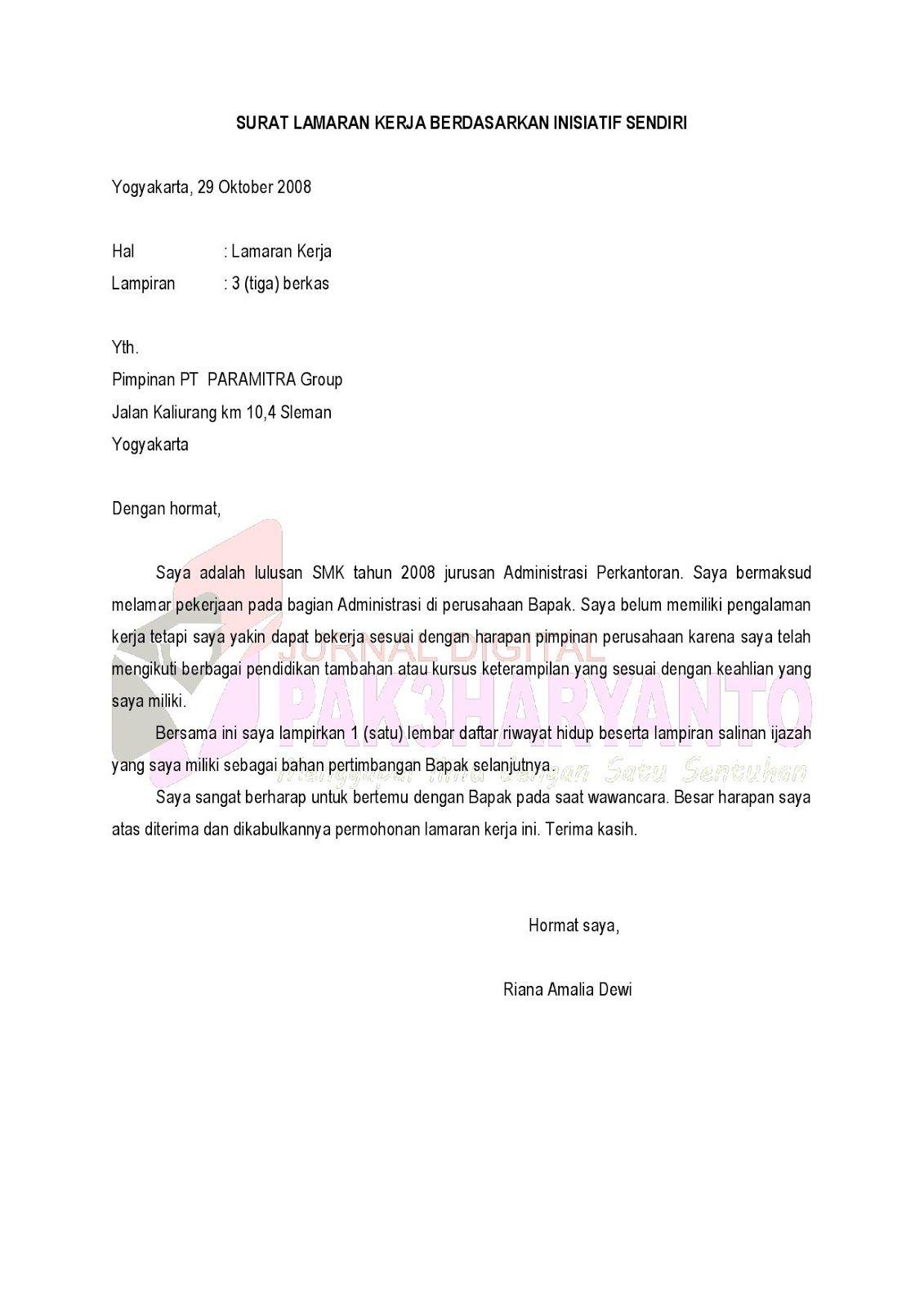 Contoh Surat Permohonan Magang Inisatif Sendiri