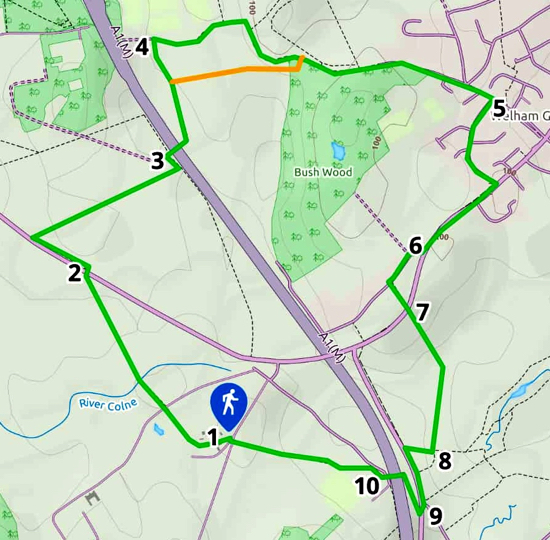 Map for Walk 74: North Mymms NE Loop Created on Map Hub by Hertfordshire Walker Elements © Thunderforest © OpenStreetMap contributors Note: There is a larger, more detailed map embedded at the end of these directions