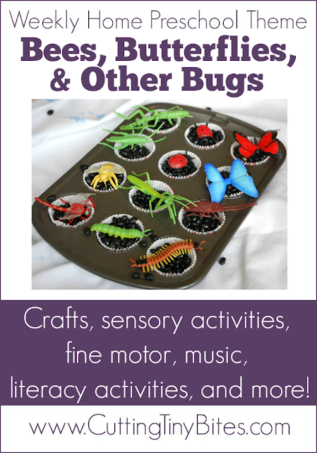 Insect Theme Weekly Homeschool Preschool. Butterfly, bees, and other bugs-- crafts, art, sensory, science, music, literacy, fine motor, gross motor, and more! EASY activities for one week of home preschool bug unit.