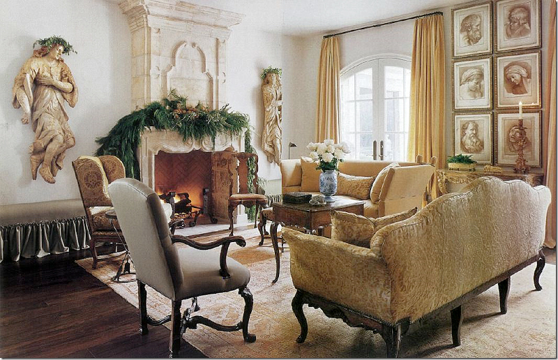 French country Christmas decor in a lovely living room with neutrals and French stone mantel. Pamela Pierce Designs.