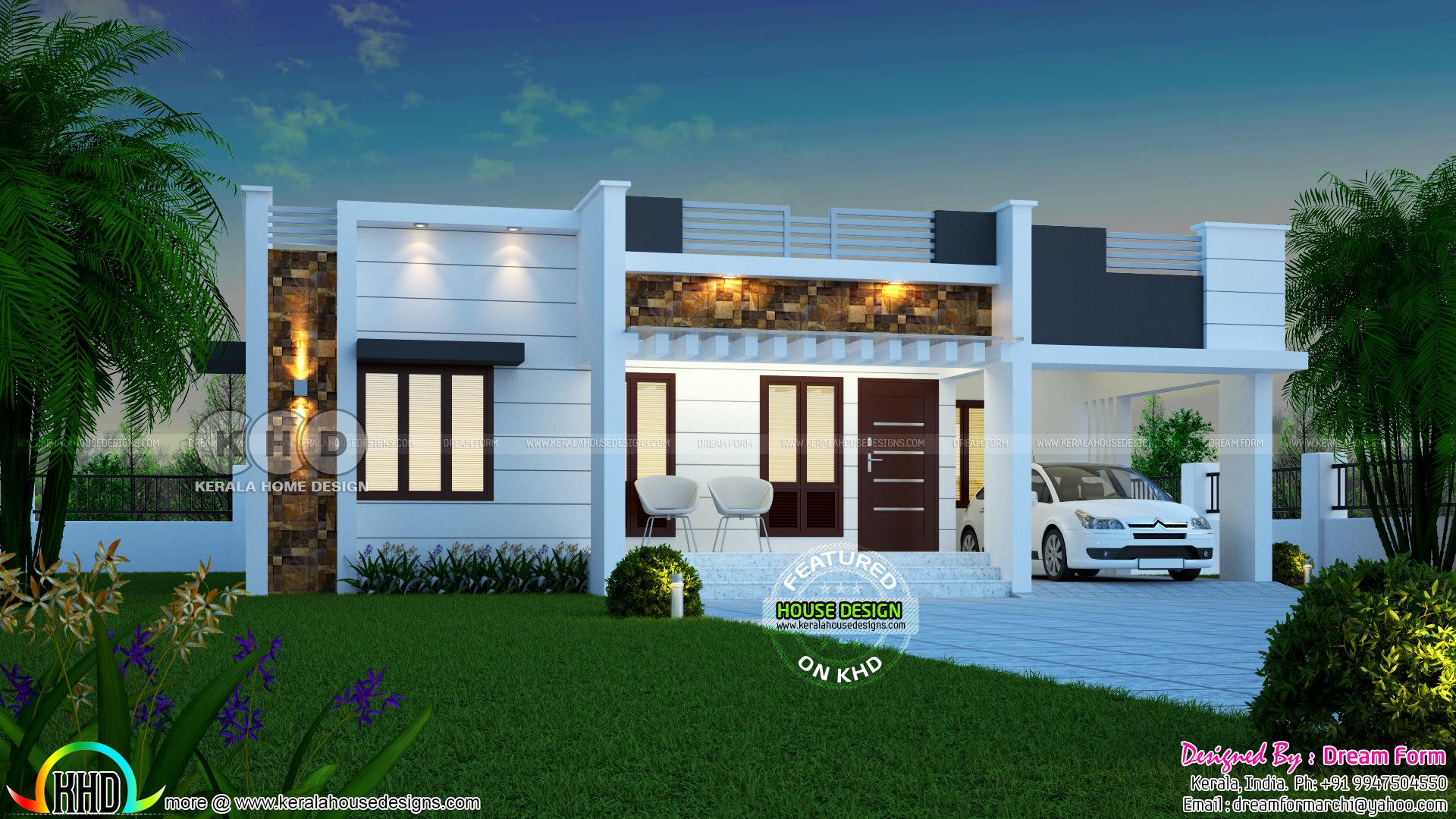 1450 Square Feet 3 Bedroom One Floor Kerala Home
