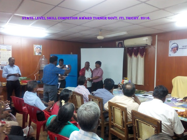 STATE LEVEL SKILL COMPETITION AWARD TURNER GOVT,I.T.I., TRICHY 2016