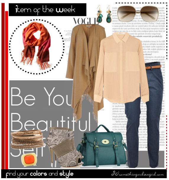 natural colorblock scarf outfit for Soft Autumn