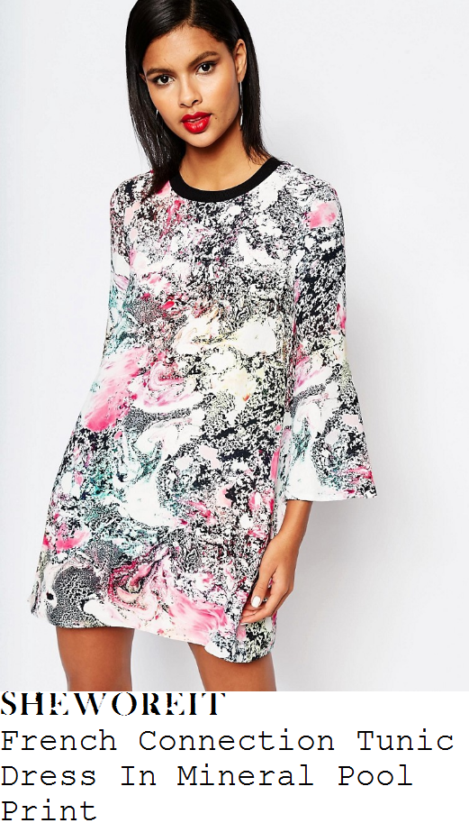 emma-bunton-french-connection-black-white-pink-yellow-and-turquoise-mineral-pool-print-three-quarter-bell-sleeve-contrast-neckline-detail-chiffon-tunic-mini-dress