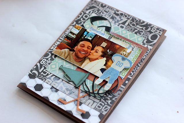Birthday Card Layout by Elena Olinevich using BoBunny Game On! collection