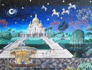 https://www.latelierdannapia.com/ giostra a Montmartre Parigi cavalli quadro acrilico su tela, onirico poetico surrealista tableau surrealiste onirique surreal art manège Paris Montmartre