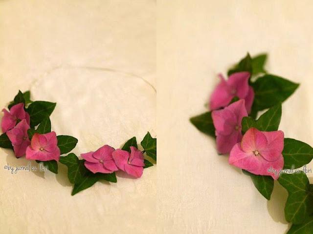coronita cu hortensie roz coafura par