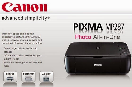 opening paper output receptacle opens mechanically at the beginning of every print job and Canon Pixma MP287 Printer Driver Download