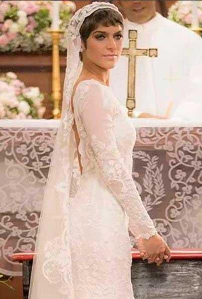 Leticia (Isabella Santoni)  noiva, casamento A lei do amor