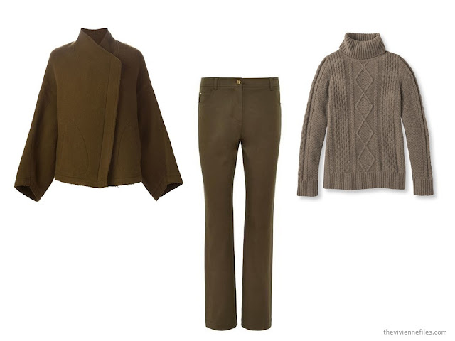 three brown cold-weather garments: jacket, jeans and turtleneck sweater