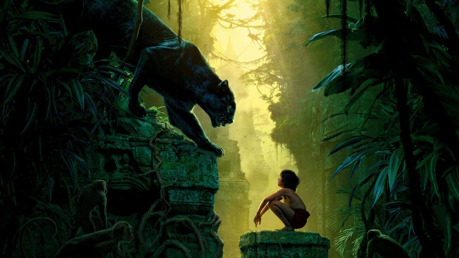 The Jungle Book (2016) -  Neel Sethi as Mowgli, the orphaned human boy, and Ben Kingsley as Bagheera, the black panther